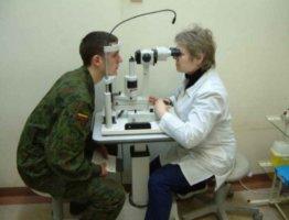 Проверка зрения у солдата